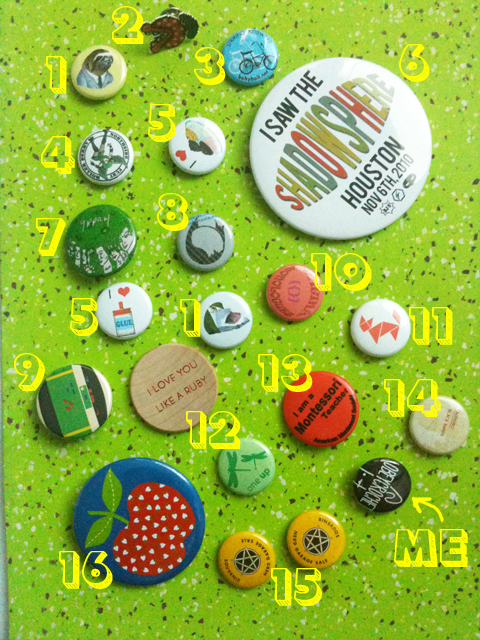 obey crochet button badge pin collection