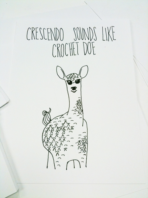 """obey crochet"" obeycrochet deer doe drawing hooky"
