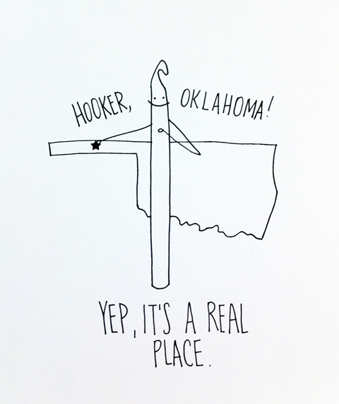 "Oklahoma ""obey crochet"" craft hook"