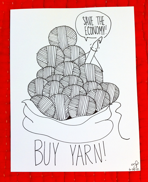 """obey crochet"" yarn comic drawing economy"