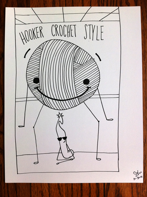 """obey crochet"" crochet hook yarn craft handmade dance comic drawing gangnam style meme elevator"